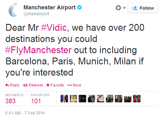 Manchester Airport flys Nemanja Vidic
